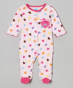 Loving this bon bébé Pink Heart 'Mommy Loves Me' Footie - Infant on #zulily! #zulilyfinds