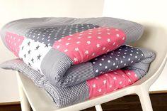 babrause Krabbeldecke -  Babydecke rosa grau - ein Designerstück von babrause bei DaWanda