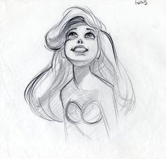 A page of rough animation for The Little Mermaid by Glen Keane.