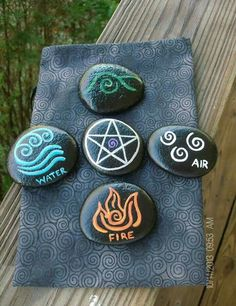 Pagan Witch Wiccan craft inspiration This could be a fun craft project to do while teaching her the signs and how to call them. 4 Elements, Wiccan Crafts, Wiccan Decor, Wiccan Art, Pagan Altar, Wicca Witchcraft, Pagan Witch, Witches, Rock Crafts