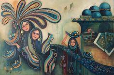 اني حملتك يابغداد معنىً للزمان معي حتى تحولت من عشقي .. الى وجعي الشعر للاستاذ المبدع فاروق سلوم  Acrylic on canvas 36x24.          Layla Nowras  Iraqi Artist
