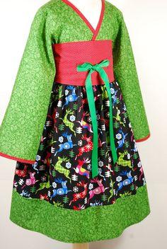 Little Girls Dress Girls kimono dress 12 18 24 2 3 4 by pinkmouse, $38.00