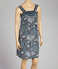 Look at this #zulilyfind! Turquoise & Black Twist Dress by Anuna #zulilyfinds