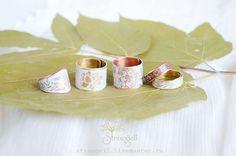 Купить Бохо кольца, медные и латунные, белое кольцо, рустик, нежное кольцо - белый, зеленый