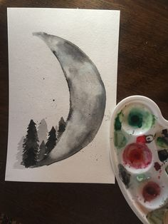 Watercolor moon and trees