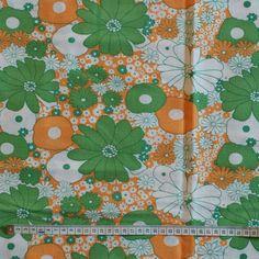 SALE - Seventies vintage floral fabric.