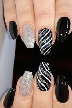 39 Fabulous Ways to Wear Glitter Nails Designs for 2019 Summer! Part 34 39 Fabulous Ways to Wear Glitter Nails Designs for 2019 Summer! Part 39 Fabulous Ways to Wear Glitter Nails Designs. Black Nail Designs, Nail Designs Spring, Toe Nail Designs, Fancy Nails Designs, Gel Polish Designs, Cute Acrylic Nails, Cute Nails, Pretty Nails, Nail Design Glitter