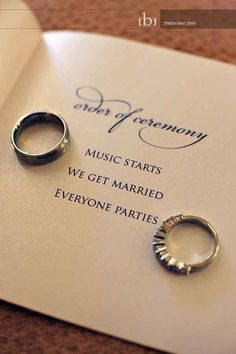 Why complicate things? Order of ceremony: Music starts, We get married, Everyone parties! Wedding Wishes, Wedding Bells, Our Wedding, Dream Wedding, Wedding Stuff, Wedding Reception, Wedding Photos, Indoor Wedding, Spring Wedding