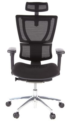 Bürostuhl / Chefsessel ERGOHUMAN LADY Sitz Stoff schwarz / Rücken Netz schwarz hjh OFFICE