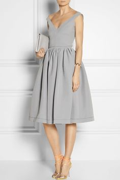 try a gray fit and flare dress and metallic strappy heels