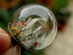 Quartz Cluster Glass Globe Ring by ThePurpleArtichoke7 on Etsy