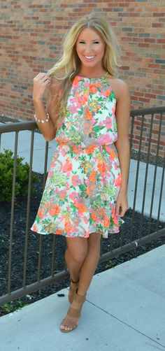 If U Can Afford Me Neon Floral Dress   Haute Pink Boutique