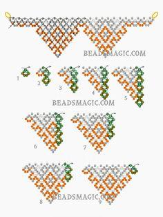 Free pattern for necklace Papaya (Beads Magic) Free Beading Tutorials, Beading Patterns Free, Free Pattern, Bead Patterns, Color Patterns, Beaded Jewelry Designs, Seed Bead Jewelry, Seed Beads, Bead Earrings