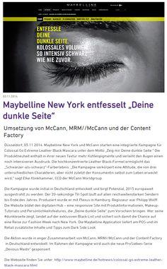 """Maybelline New York entfesselt """"Deine dunkle Seite"""" / Umsetzung von McCann, MRM//McCann und der Content Factory #mrm_de #mccann_de #MaybellineNY"""