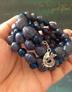Handmade blue bracelet Paper bead bracelet Fashion by JoannaJeanne