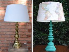 Ugly lamp makeover from the thrift store - Painted brass lamp with map lamp shade. - Thrift Diving S Hive Home, Turquoise Lamp, Old Lamp Shades, Origami, Paint Brass, Painting Lamps, Painting Furniture, Old Lamps, Brass Lamp