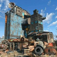Tagged with gaming, fallout falloutsettlements, starlight drive in; Fallout Rpg, Fallout Mods, Fallout 4 Settlement Ideas, Fallout Concept Art, Post Apocalyptic Art, Cyberpunk 2077, Environment Concept Art, Environment Design, Anime City