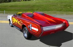 Built by George Barris' shop around the same time as the original Batmobile, the Fireball 500 reportedly took four employees six days of painting to get its color correct.