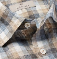 Canali Checked Linen Shirt-this means summer's near :) #menslinen