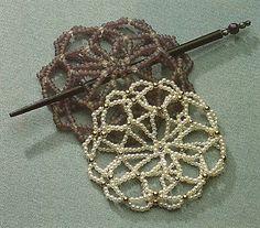 Diy Hair Accessories, Crochet Accessories, Fabric Jewelry, Hair Jewelry, Diy Hair Bun, Bead Crochet, Crochet Hats, Snood Pattern, Hair Beads