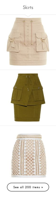 """""""Skirts"""" by brook-s18 ❤ liked on Polyvore featuring skirts, mini skirts, balmain, bottoms, faldas, balmain skirt, drawstring skirt, short mini skirts, short pink skirt and cargo skirt"""