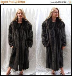 On Sale Vintage 1970s Black Brown Faux Fur Coat Faux Mink Full Length