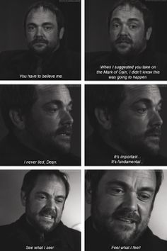 [gifset] Let's talk about Crowley's monologue. 9x23 Do You Believe In Miracles #SPN  #Crowley