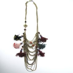 Kantha Collection - Poms & Chain Necklace