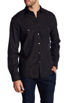 Slim Fit Military Plaid Long Sleeve Shirt