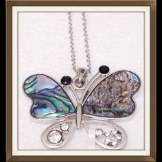 """Abalone Shell Butterfly Abalone Shell Butterfly accented with AAA Austrian crystals. 1 3/4"""" wide X 1 1/2"""" high. Very pretty piece. Jewelry Necklaces"""