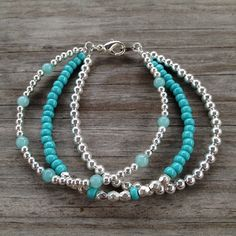 Inspiration Photo - Triple Strand Teal  Silver Simple Beaded Bracelet on Etsy, $20.00