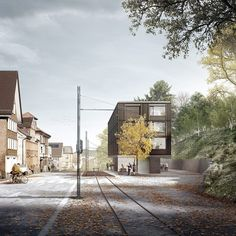 Bernardo Bader . train station . Trogen  (2) Timber Structure, Building Structure, Architecture Visualization, Architecture Plan, Bernardo Bader, Rendered Plans, Wooden Facade, Photoshop Rendering, Facade House