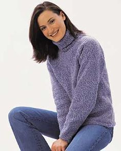 This classic turtleneck sweater will become a timeless staple of your wardrobe. Sizes S - XL (bust 34 - 40 in). Shown in Bernat Denimstyle knit using sizes 4.5 mm (U.S. 7) and 5 mm (U.S. 8) needles. free pattern