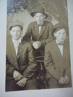 "3 Young Men in Hats - Identified - Vintage Real Photo Postcard - 1913; Photographer...Radium Studio  Location...Seattle, Washington  Measurements...3 1/2"" x 5 1/2""  Age...1913.  BACK...handwritten date of 1913 and handwritten names of...Henry Day...Tom Cranny??...Bob Cranny??"
