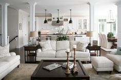 Love this family room and great is of pillars to replace supporting walls- for when we remodel
