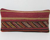 kilim pillow ancient turkish pillowcase geometric pillow case colorful pillow cover retro pillow case primitive pillow case lumbar rug 26527
