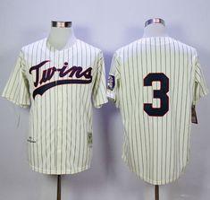 d39bdaa9d23 Mitchell and Ness Twins #3 Harmon Killebrew Cream Black Strip Stitched MLB  Jersey Mlb,