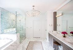Robert Abbey Bling Chandelier, Polished Nickel in Bathroom. Bathroom with Robert Abbey Bling Chandelier, Polished Nickel. #Bathroom #Chandelier #RobertAbbeyBlingChandelier Laura U, Inc.