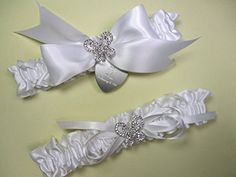 Butterfly Wedding Garter Set in White Satin with Rhinestone Butterflies and Personalized Engraving * Find out more about the great product at the image link.