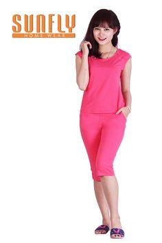 Bộ mặc nhà thời trang truyền thống màu hồng dâu Sunfly Prime