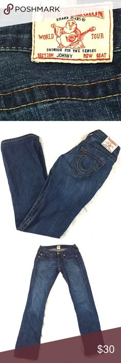 """True Religion Johnny Jeans Size 26 👖 True Religion jeans size 26.  These jeans have been hemmed.  Length 30"""" waist flat across 14"""" rise 7"""".  The price is firm unless bundled. True Religion Jeans"""