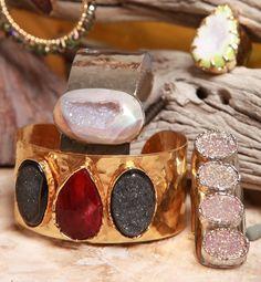 Peppina Triple Druzy and Gold Cuff,  Peppina Rhodium Mystic Agate Cuff, ; Peppina Four Stone Rhodium Ring