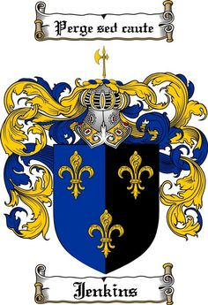 JENKINS FAMILY CREST - COAT OF ARMS gifts at www.4crests.com