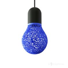 Drop Lacelamps Black & Blue by Linlin & Pierre-Yves JACQUES #design #lacelamps #3Dprinted #lamp #lace #colorfull #drop #bulb Shop: lpjacques.com/shop/ @lp_jacques
