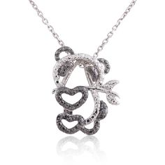 """Sterling Silver Rhodium Plated Diamond Accent Panda Bear Pendant Necklace, 18"""". Crafted in 925 Sterling Silver. Has a genuine Diamond (0.01ct). 18"""" Sterling Silver Chain Included. High Quality. Hypoallergenic, Nickel and Lead Free."""