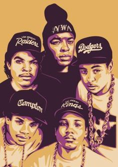 This picture shows the group NWA in a graphic creative way. As you can see each person has a hat with different designs. Mode Hip Hop, 90s Hip Hop, Hip Hop Rap, Arte Black, Black Art, N.w.a Rap, Hip Hop Artists, Music Artists, Arte Do Hip Hop