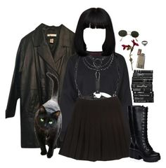 """""""I didn't agree but now I must see at least you had imagination."""" by siennabrown ❤ liked on Polyvore featuring Boohoo, Zana Bayne, Ray-Ban, Dark, goth, gothic, alternative, gothgoth and plus size clothing"""