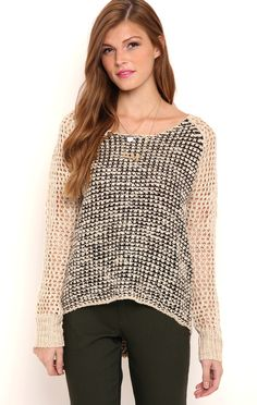 Deb Shops Long Sleeve Marled Knit Raglan Pullover Sweater with High Low Hemline $21.75