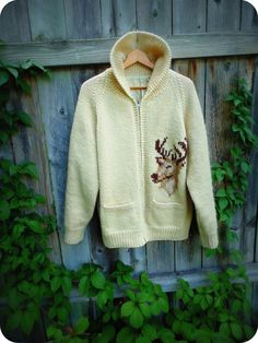 Vintage Cowichan Knitted Deer Sweater/ Zip up by ThreadyJenny, $135.00