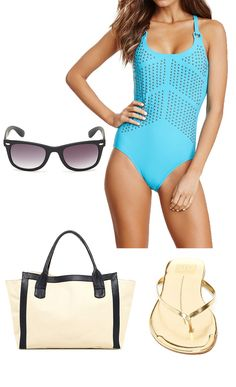cute beach set—love the studded suit + sandals